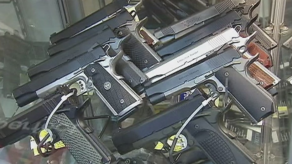 Semiautomatic pistols on display in a firearms store