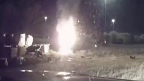 State trooper pulls man from burning car