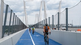 Bike and pedestrian path opens on Mario Cuomo Bridge