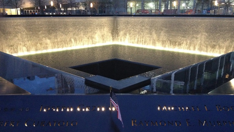 A view of a reflecting pool at the 9/11 Memorial in Manhattan