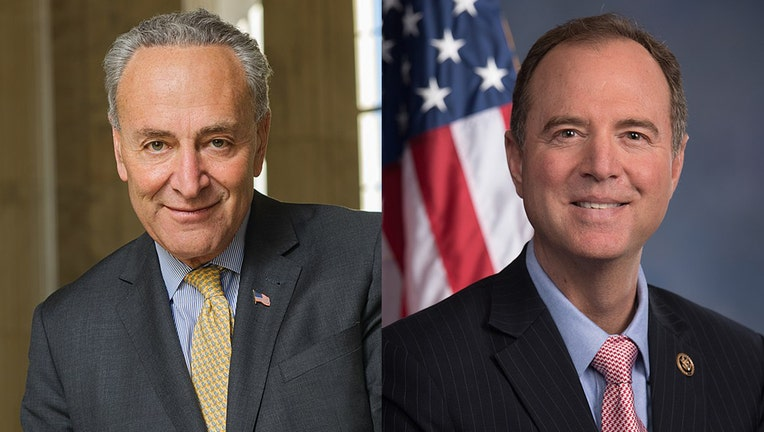 Headshots of Senator Chuck Schumer and Representative Adam Schiff