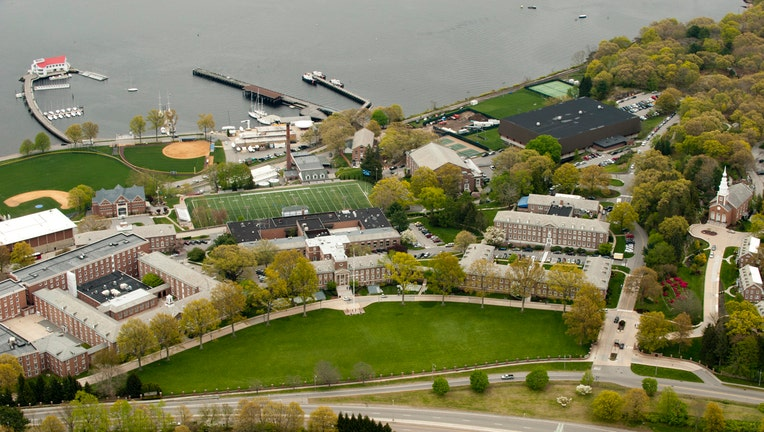 An aerial view of the campus of the US Coast Guard Academy