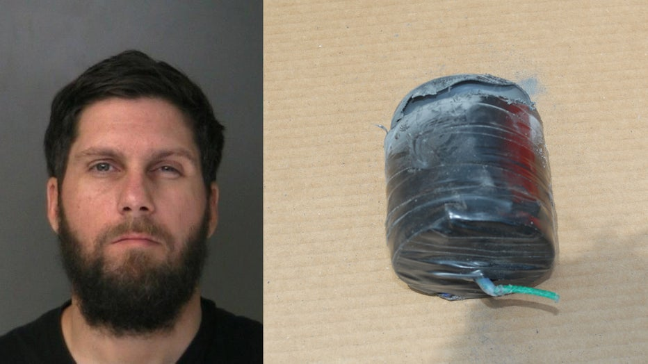 Booking photo of a man arrested and a cylindrical object believed to be a bomb