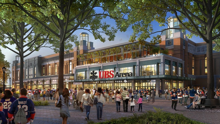 Artist's rendering of a hockey arena entrance and the plaza in front of it showing fans arriving