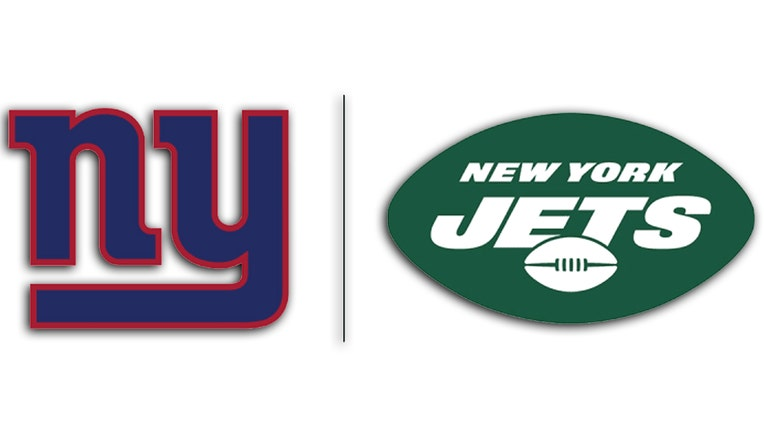 Blue and red NY logo of the Giants and green and white football and name logo of the Jets