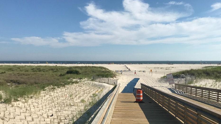 A sandy beach and the Atlantic Ocean