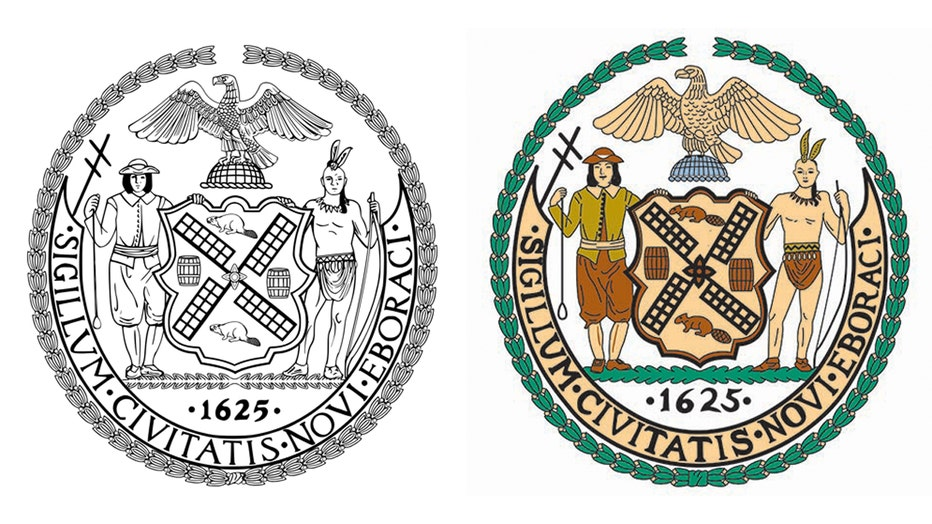 Two versions of the official seal of the City of New York