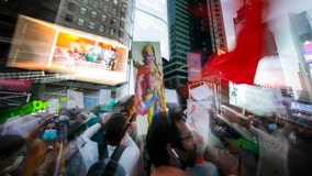 Controversy over Hindu temple in India draws crowds to Times Square