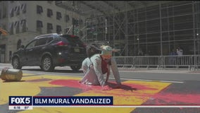 Woman dressed as Statue of Liberty vandalizes BLM mural in Manhattan