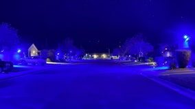 Nevada neighborhood lights up in blue to support law enforcement
