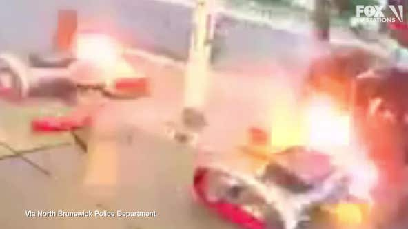 SUV crashes into gas pumps in New Jersey