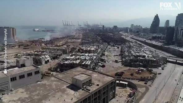 Drone surveys destruction caused by massive explosion in Beirut