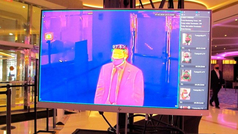 Thermal image of a man on a screen