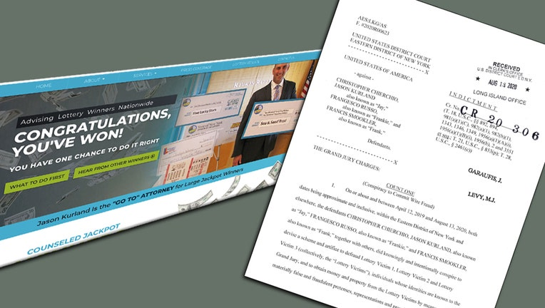 An illustration made from a screenshot of the archived homepage of TheLotteryLawyer.com (left) and the first page of a federal indictment