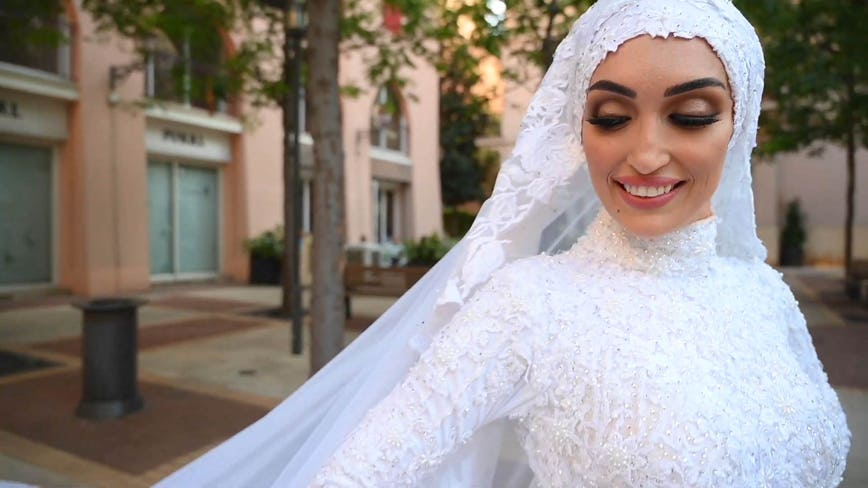 Video captures moment of massive Beirut explosion as bride poses for photographs