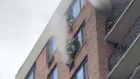 Firefighters pull off daring rope rescue at Harlem fire