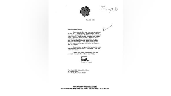 Letters between Trump and Nixon made public
