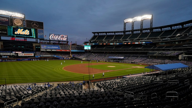 A look at the field inside Citi Field at night