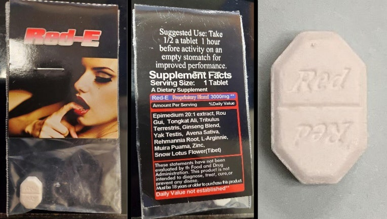 Product packaging featuring a woman in a provocative pose and octagonal shaped white tablet
