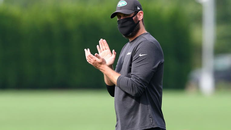 Head coach Adam Gase of the New York Jets looks on at Atlantic Health Jets Training Center on August 23, 2020 in Florham Park, New Jersey.