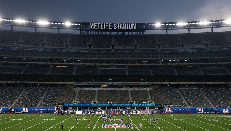 General view of the Blue and White scrimmage at MetLife Stadium on August 28, 2020 in East Rutherford, New Jersey. (Photo by Mike Stobe/Getty Images)