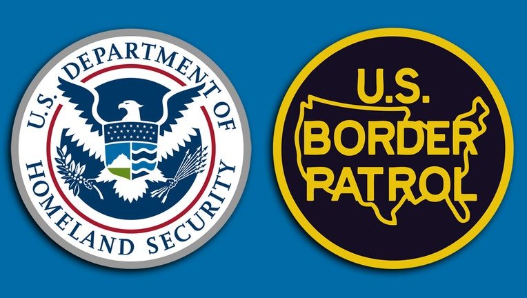U.S. Department of Homeland Security logo is gray, blue, red, green; shield with eagle carrying arrows and an olive branch; U.S. Border Patrol logo is black and yellow with outline of a map of the USA