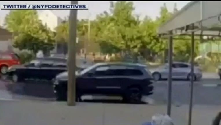 A screen shot from a video released by NYPD detectives shows a July drive-by shooting at a Brooklyn playground in