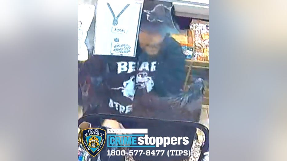 The NYPD wants to find the man seen on security camera footage stabbing another man outside a deli in Hell's Kitchen.