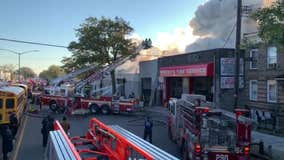 Massive auto shop fire in Brooklyn leaves 3 firefighters injured