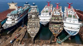 Cruise ships being dismantled and scrapped for parts
