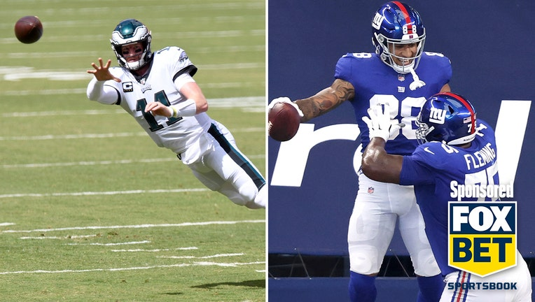 LEFT: Carson Wentz #11 of the Philadelphia Eagles throws a pass in the first quarter against the Washington Football Team at FedExField on September 13, 2020 in Landover, Maryland. (Photo by Greg Fiume/Getty Images) RIGHT: Evan Engram #88 of the New York Giants is congratulated by Cameron Fleming #75 after scoring a touchdown against the Dallas Cowboys at AT&T Stadium on October 11, 2020 in Arlington, Texas. (Photo by Tom Pennington/Getty Images)