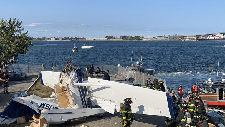 A small airplane crashed into a pier in Queens