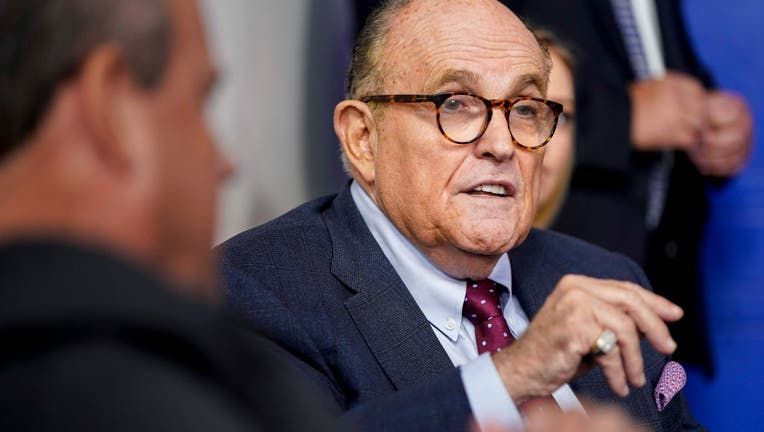 New York Mayor Rudy Giuliani speaks during a news conference.