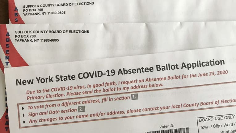 FILE- New York State COVID-19 application for an absentee ballot.