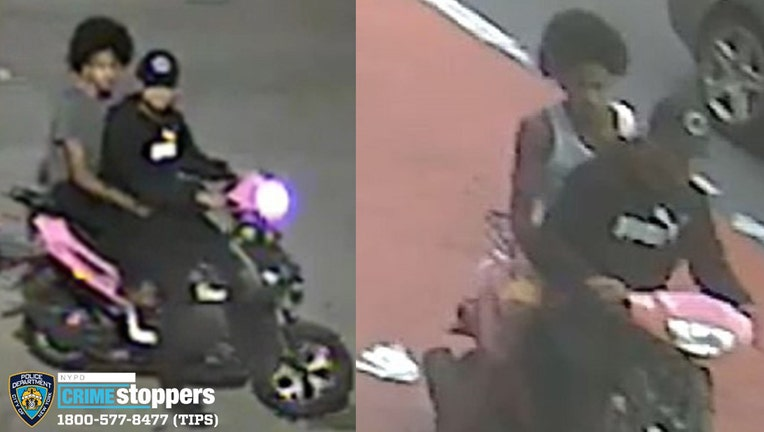 Security camera images of two men sitting on a motorized scooter