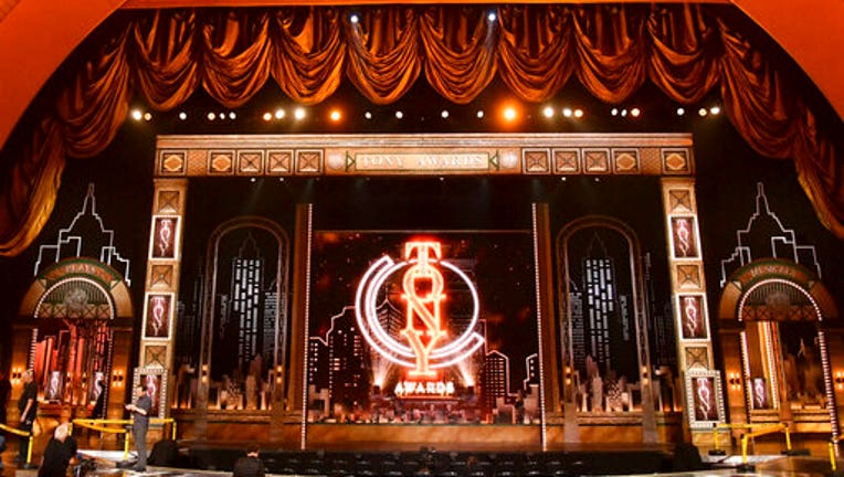 File photo shows the stage prior to the start of the 73rd annual Tony Awards at Radio City Music Hall in New York.