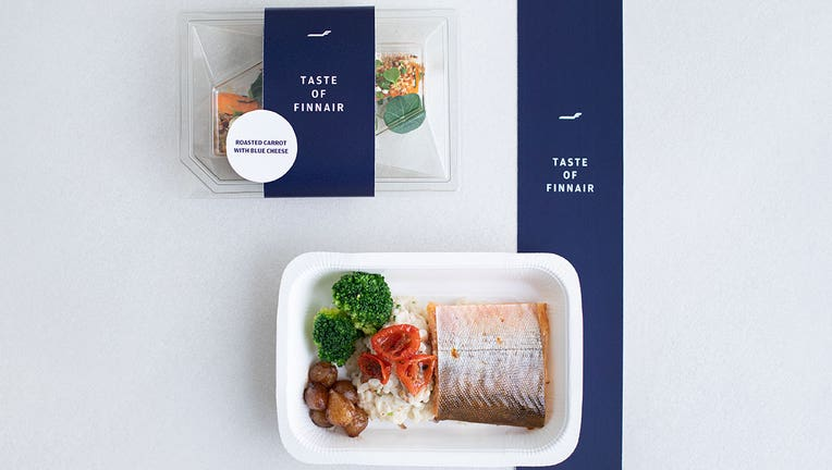 A photo released by Finnish airline Finnair shows food that will be sold in supermarkets.(Handout/Finnair)