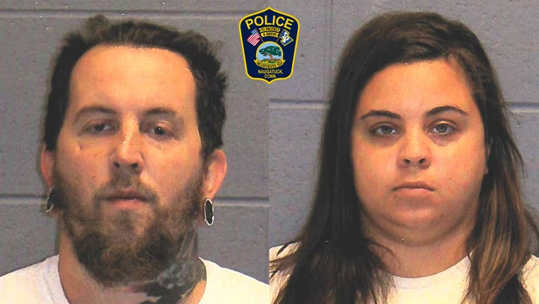 Booking photos of a man and woman