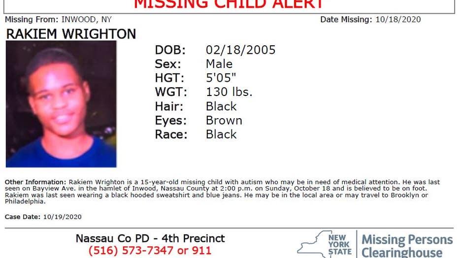 Rakiem Wrighton, 15, was last seen in Inwood, Long Island.
