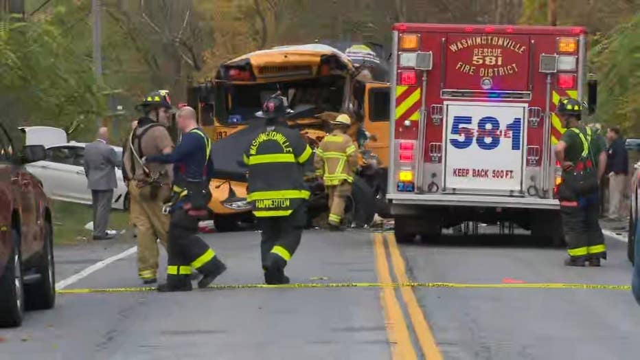 Rescue crews are seen on the scene of a bus crash in New York.