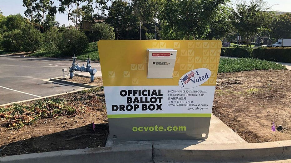 Official ballot drop boxes in Orange County, California are designed to meet state standards for security and bear the official Orange County Elections logo (Registrar of Voters for Orange County)