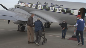 Veterans, 100 and 105 years old, fly above Santa Rosa in WWII-era plane for Veterans Day