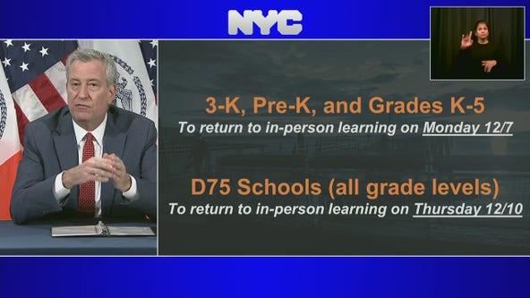 De Blasio: NYC public schools to begin phased reopening Dec. 7