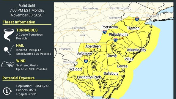 Tornado Watch issued for large portion of New Jersey