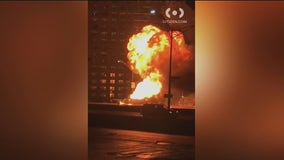 Truck carrying hundreds of propane tanks catches fire on LIE