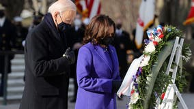 Biden, Harris lay wreath at Tomb of the Unknowns in Arlington National Cemetery