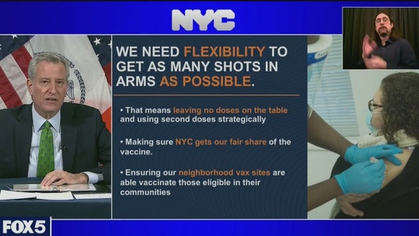 As NYC vaccine sites stay closed, mayor calls for release of doses