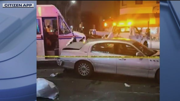 Stolen postal truck slams into parked cars in Brooklyn