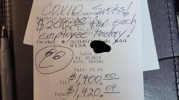 'COVID Bandit' leaves $1,400 tip, enough to give each bakery employee $200