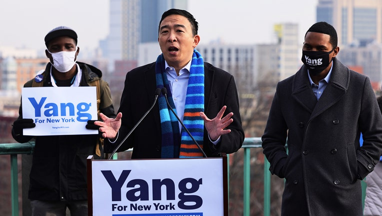 New York City Mayoral candidate Andrew Yang speaks at a press conference on January 14, 2021 in New York City. (Photo by Michael M. Santiago/Getty Images)